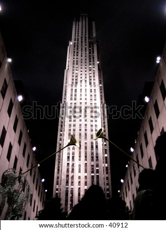 Rockefeller Center At night  View 2 (with christmas decoration) - stock photo