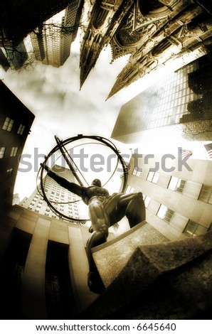 Rockefeller Center & Atlas - stock photo