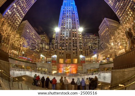 Rockefeller Center skating rink - Manhattan - New York - stock photo
