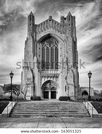 Rockefeller Chapel on the campus of the University of Chicago in Chicago, Illinois - stock photo