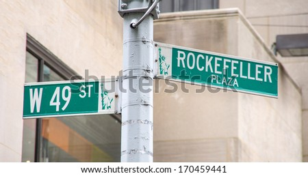 Rockefeller plaza and 49 st road sign