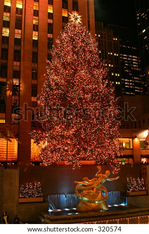 Rockefeller Plaza Christmas Tree in New York City - stock photo