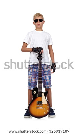 rocker boy with guitar on a white background - stock photo