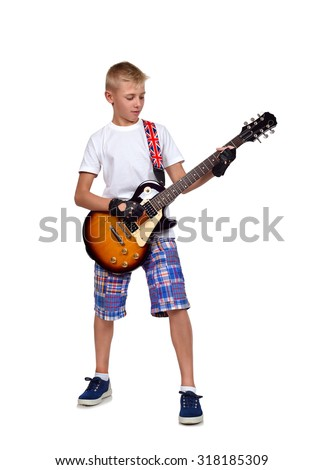 rocker boy with guitar  on white background - stock photo
