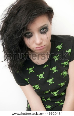 Rocker Crying Girl over make up