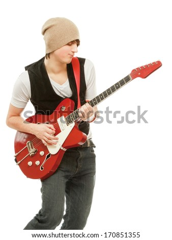 Rocker with his classic acoustic guitar against white background