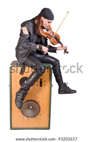 rocker woman with a violin - stock photo