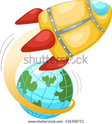 Rocket and earth globe . jpg (EPS vector version id 126059045,format also available in my portfolio)