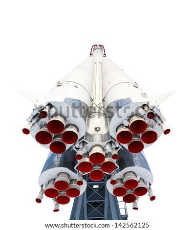 rocket and engine isolated on white background - stock photo