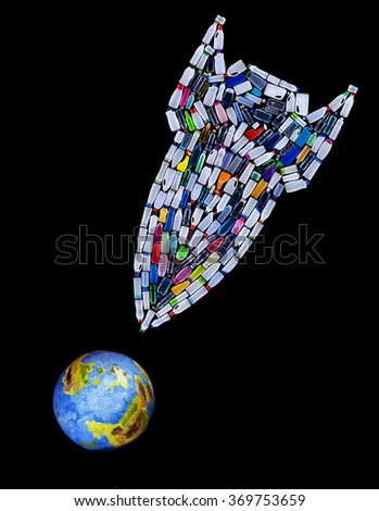 Rocket bomb made of plastic bottles targeting our planet - environmental disaster concept - stock photo