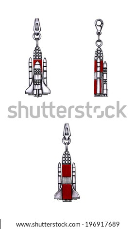 Rocket charm pendant jewelry. Hand drawing and painting on paper. - stock photo