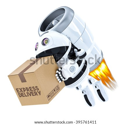 Rocket Delivery Robot flying with package. Isolated over white. Contains clipping path. 3D - stock photo