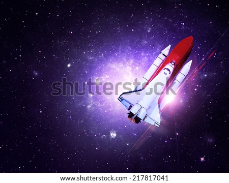 Rocket Flying Through Purple Starfield - Elements of this Image Furnished By NASA - stock photo