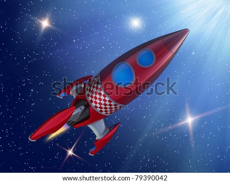 Rocket in space - stock photo