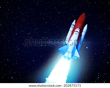 Rocket in Space - Elements of this Image Furnished By NASA - stock photo