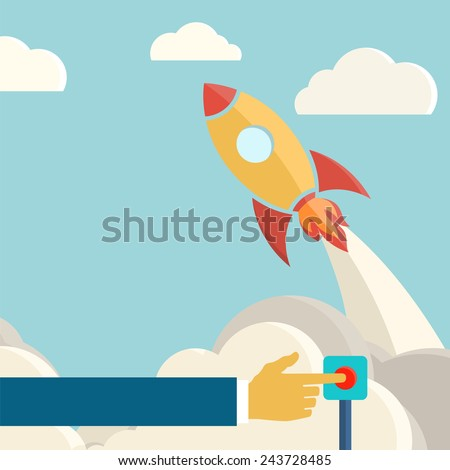 Rocket launch retro background. Vintage poster. Startup - stock photo