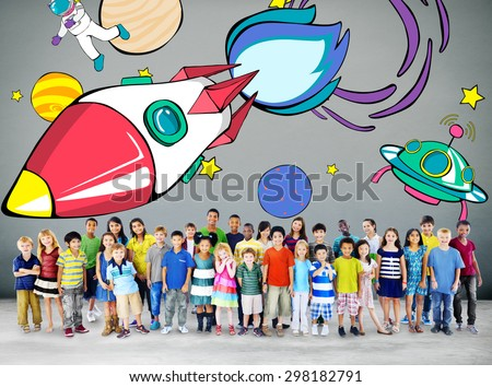 Rocket Launch Space Outerspace Planets Concept - stock photo