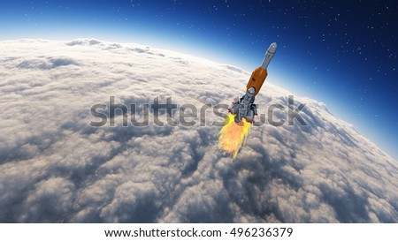 Rocket launched into the space leaving the earth, earth covered by clouds. This is a 3d render illustration