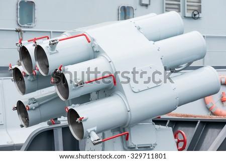 rocket launcher on warship - stock photo