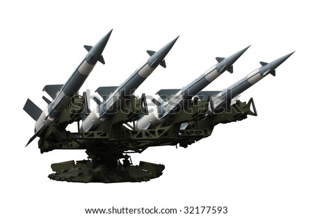 Rocket launcher with four missiles isolated - stock photo
