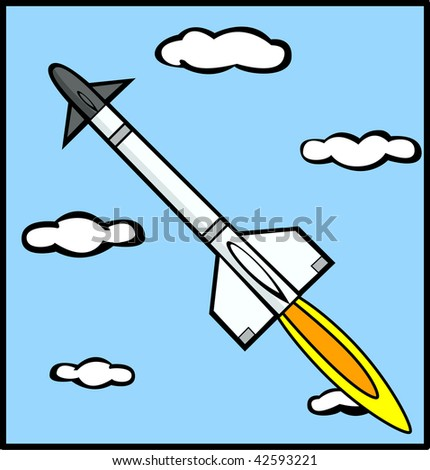 rocket missile flying in the sky - stock photo