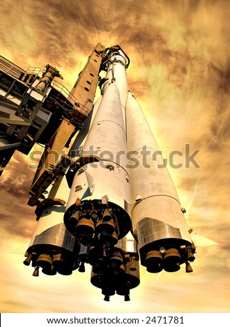 Rocket on hot planet. Computer created image. Fiction illustration. - stock photo