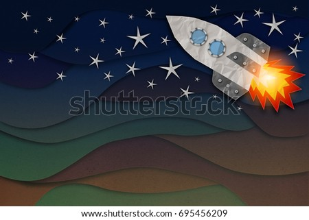 rocket paper cut with background of cloud wave paper texture background business ideas concept