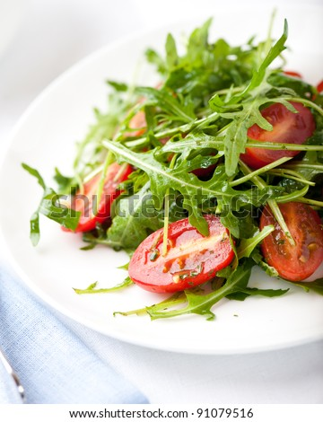 Rocket salad with cherry tomatoes - stock photo