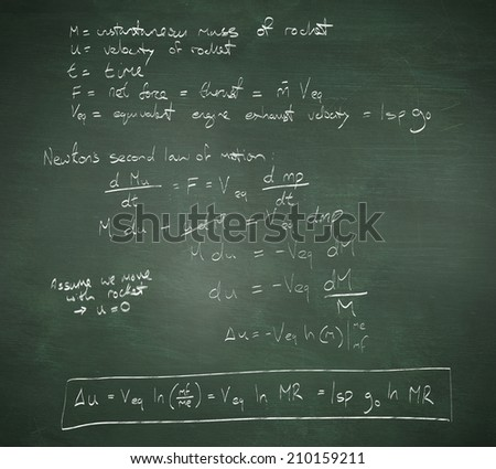 Rocket science theory against green chalkboard - stock photo