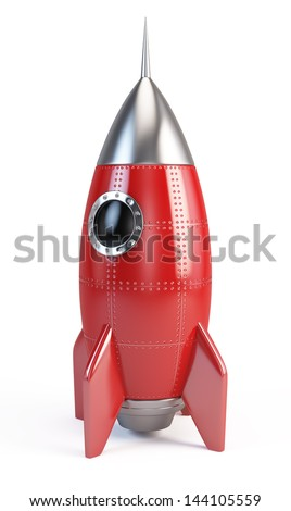 Rocket space ship isolated on white - stock photo