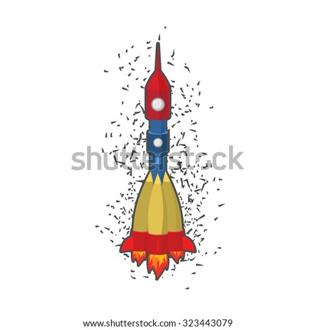 Rocket space ship on a white background.   - stock photo