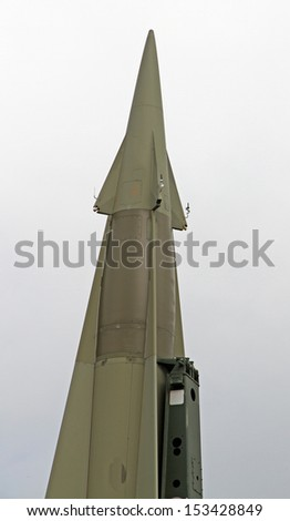 rocket with military explosive warhead for the war in a secret base millitary 7 - stock photo