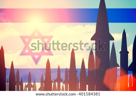 Rockets silhouettes background  Israel flag. Toned - stock photo