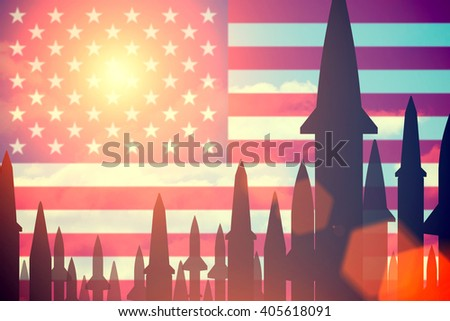 Rockets silhouettes background United States of America flag. Toned - stock photo