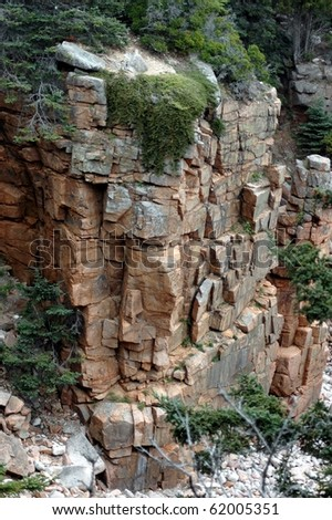 Rockey Wall-Acadia National Park,Maine - stock photo