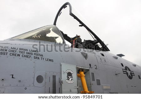 ROCKFORD, IL - JULY 31: Cockpit of the A-10 Thunderbolt airplane in close view at the annual Rockford Airfest on July 31, 2010 in Rockford, IL - stock photo