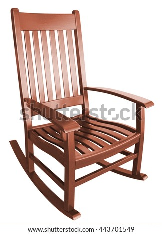 rocking chair facing left on a porch isolated stained wood country brown relaxing beach furniture traditional contemporary wooden friendly welcoming hospitality chairs living comfortable