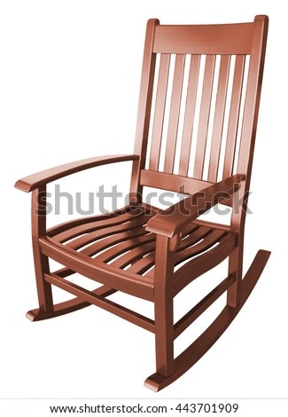 rocking chair facing left on a porch isolated stained wood country brown  relaxing beach furniture traditional