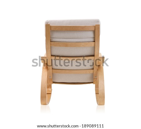 rocking chair on the back side isolated on white - stock photo