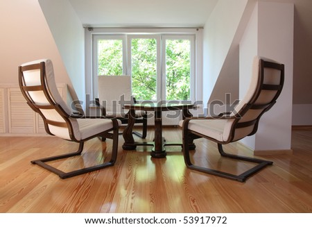 rocking chairs table - stock photo