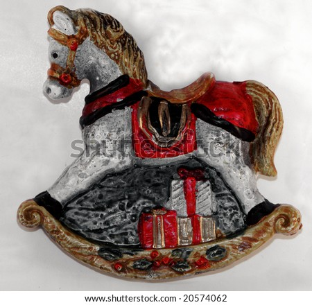 rocking horse christmas decoration - stock photo