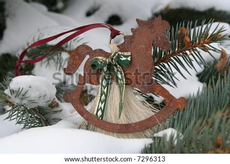 rocking horse christmas ornament - stock photo