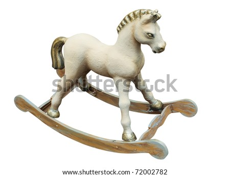 Rocking horse handmade isolated over white. With Clipping Path - stock photo