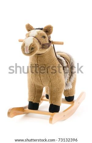Rocking horse, on white background. - stock photo