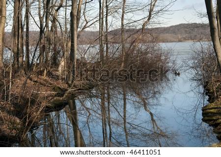Rockland Lake Reflection - stock photo