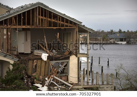 Rockport, Texas - August 28, 2017 - Extensive property damage caused by Hurricane Harvey.