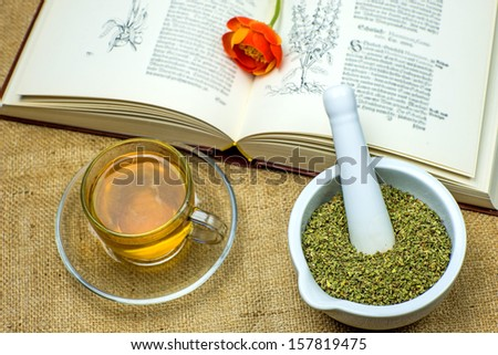 Rockrose tea with medieval textbook - stock photo