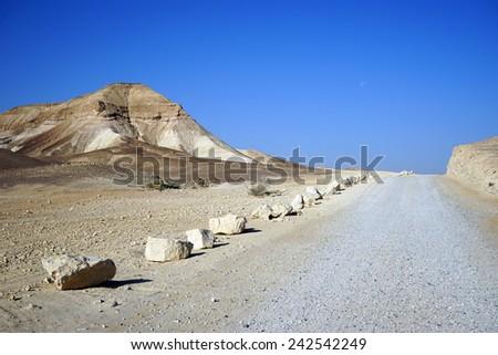 Rocks along road in Negev desert, Israel                                - stock photo