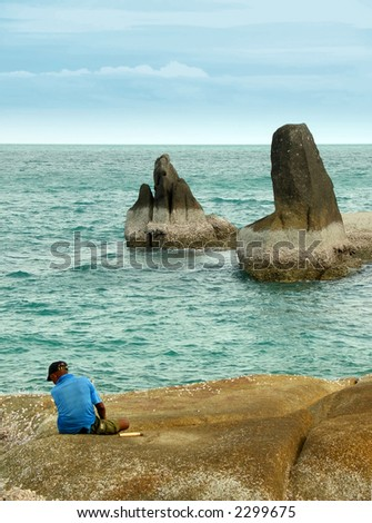 Rocks along the coast of Ko Samui - stock photo