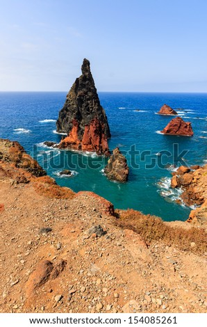 Rocks and cliffs and ocean view at Ponta de Sao Lourenco, Madeira island, Portugal  - stock photo